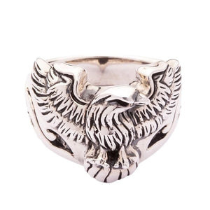 silver harley eagle ring
