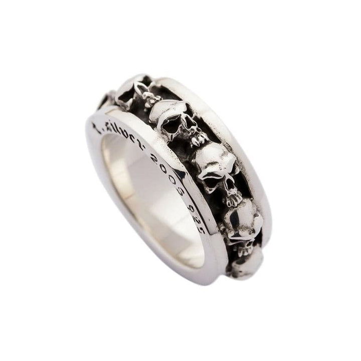 silver multi stack skull ring