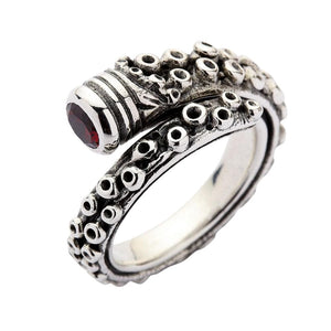Sterling zilveren Octopus tentakel ring