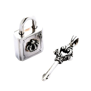 sterling silver lock at key pendant