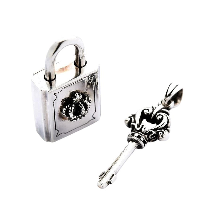 sterling silver lock and key pendant