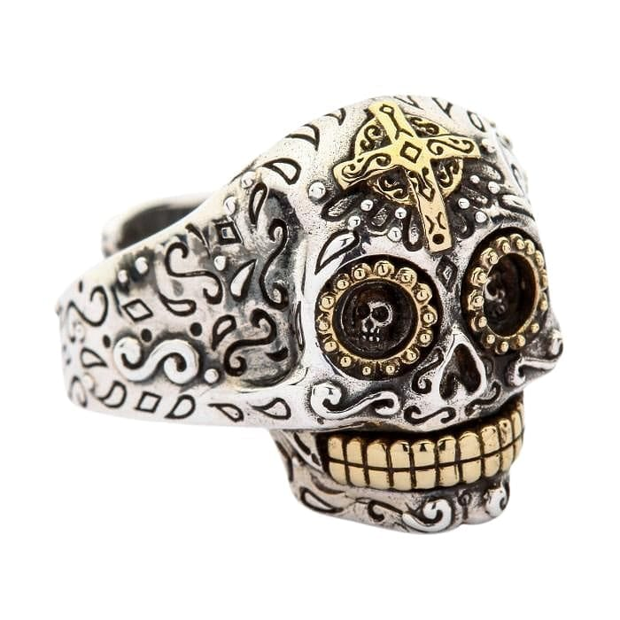 sterling silver mexican skull women's ring