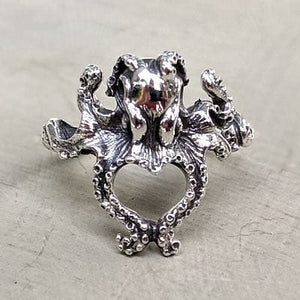 sterling silver small octopus womens ring