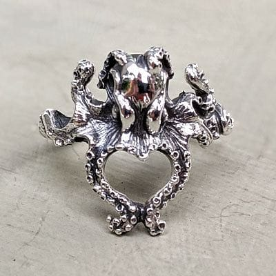 sterling zilveren kleine octopus dames ring