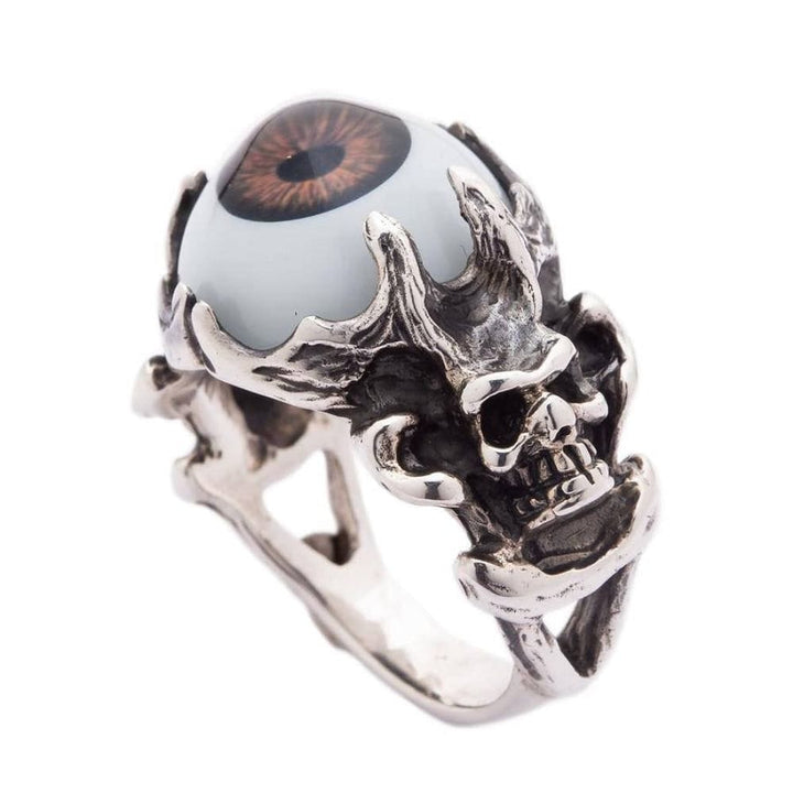 sterling silver skull goth brown eyeball singsing