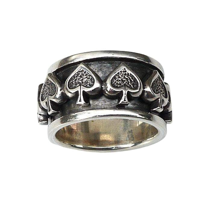 silver spade spin ring