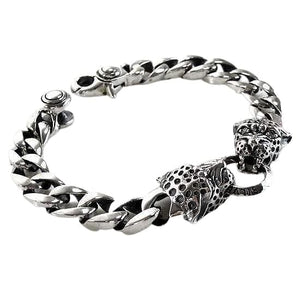 silver tiger chain bracelet for men