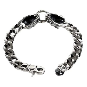 Sterling Silver Tiger Mens Bracelet