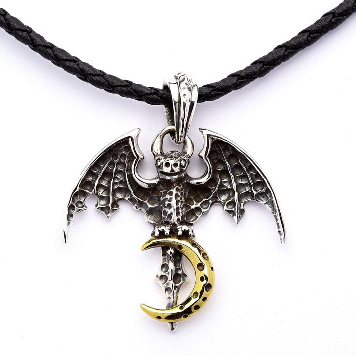 silver vampire bat gothic pendant necklace