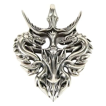 sterling silver knight warrior dragon pendant