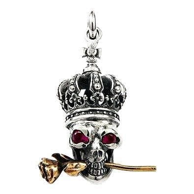 crown skull and rose silver pendant