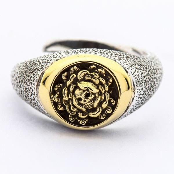silver & brass skull and rose ring