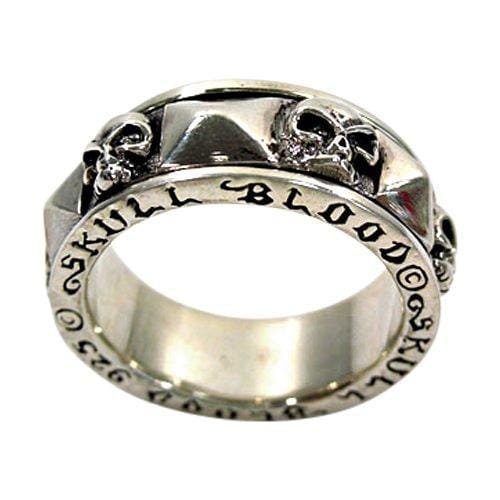 925 sterling silver skull blood spin ring