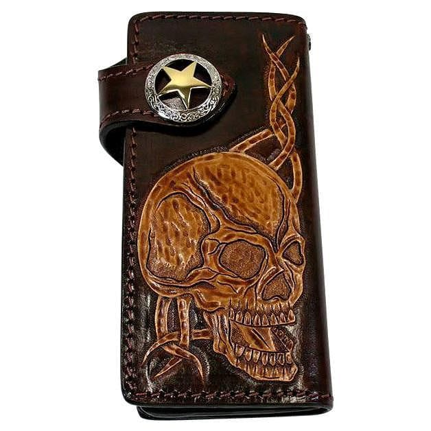 dark brown leather skull men's wallet