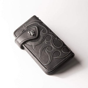 Biker stingray leather na mahabang biker wallet