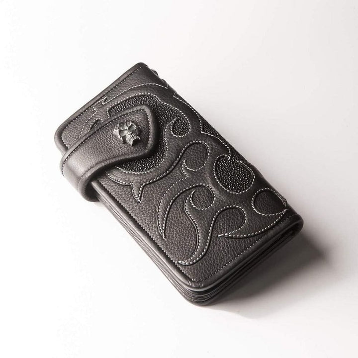 Biker stingray leather long biker wallet