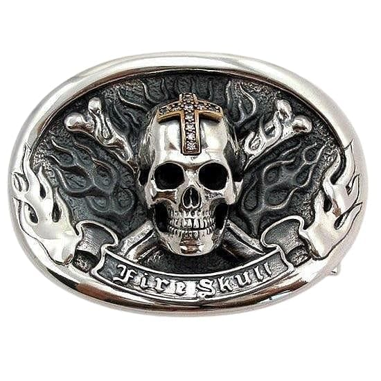 skull crossbones sterling silver belt buckle