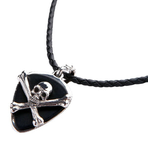 silver skull crossbones guitar pick holder pendant necklace