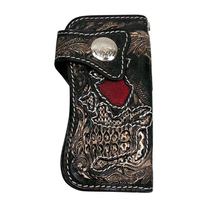 carved stingray & snake skin biker wallet