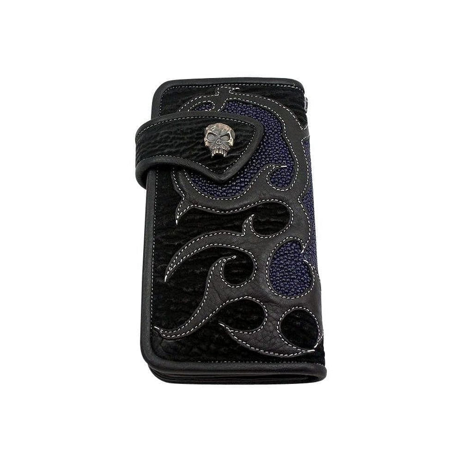 silver skull blue stingray biker wallet
