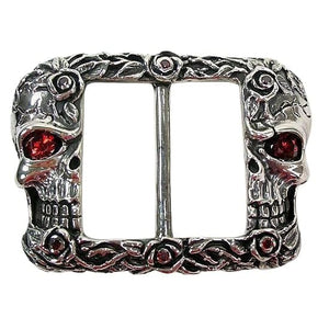 skull and rose tattoo buckle biker jewelry