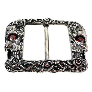 silver skull rose biker belt buckle - biker jewelry