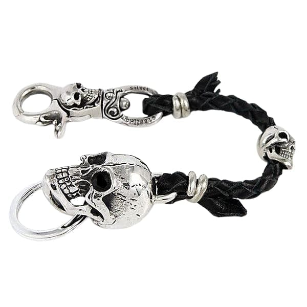 silver skull braided leather keychain