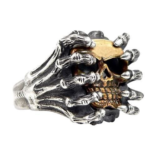 gold skull spider ring