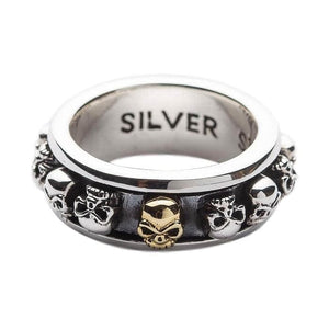 Sterling zilveren Skull Spin Ring