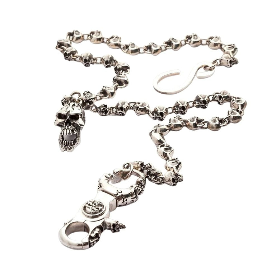 flame skull silver wallet chain
