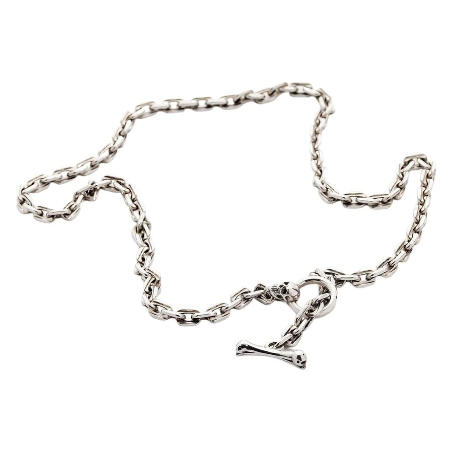 Skull T-Bar Sterling Silver Chain Necklace