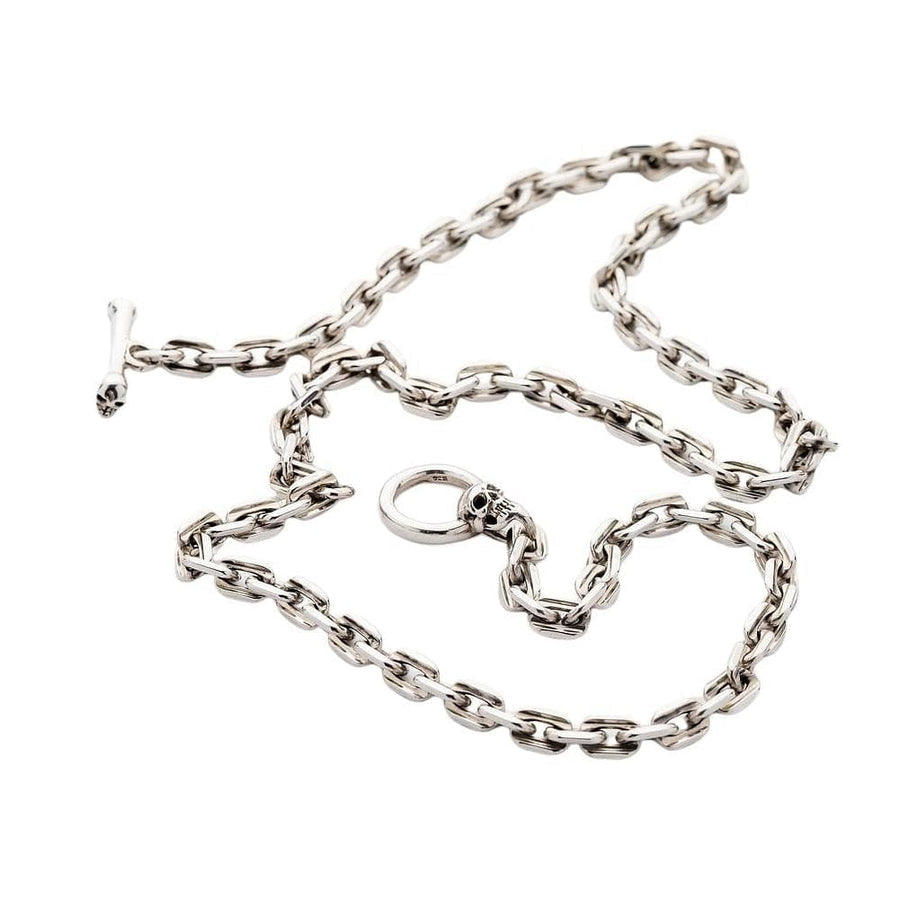 t-bar skull sterling silver chain