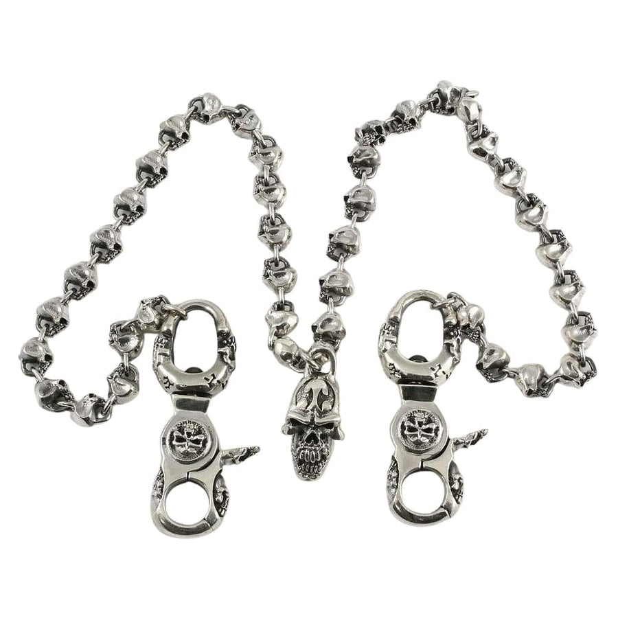 double clasp skull sterling silver wallet chain
