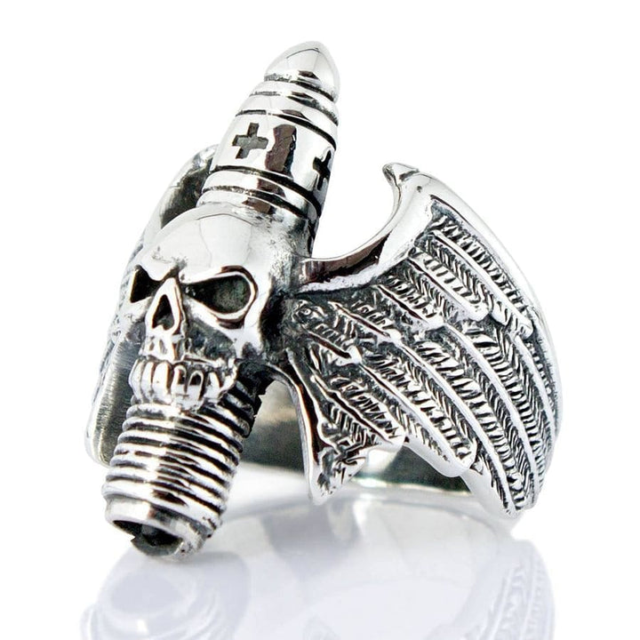 skull wings ring