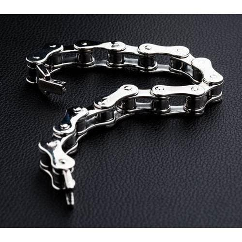 Small Sterling Silver Bike Chain Bracelet