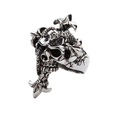 Snake Head Skull Ring-Bikerringshop
