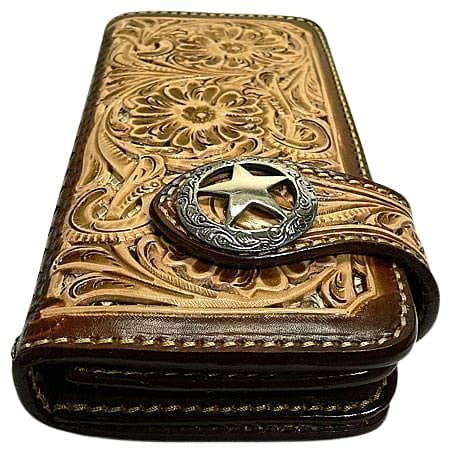 floral leather cowboy wallet