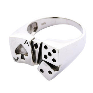 Sterling Silver Dice Lucky Ring