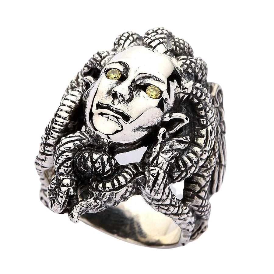 sterling silver Gorgon Medusa ring