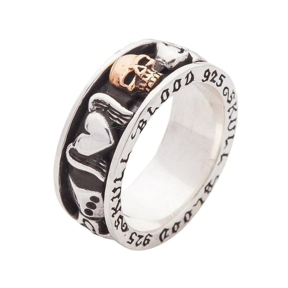 Sterling Silver Gothic Spinning Rings-Bikerringshop