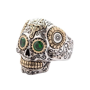green eye mexican sugar skull ring