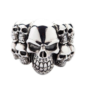 phantom biker skull silver ring