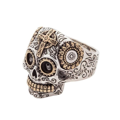 Sterling Silver Sugar Skull Ring-Bikerringshop