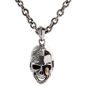 sterling silver worm skull chain necklace