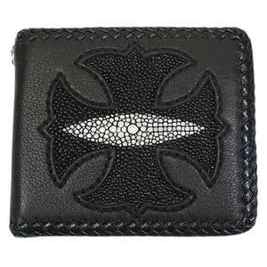bifold leather chain biker wallet