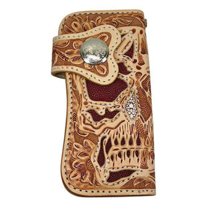 carved tooled skull biker wallet