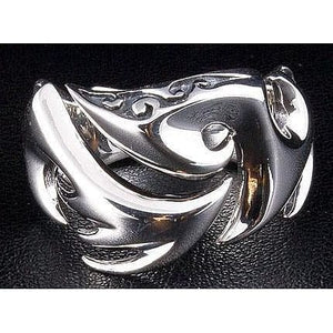 tribal tatuering blad sterling silverring