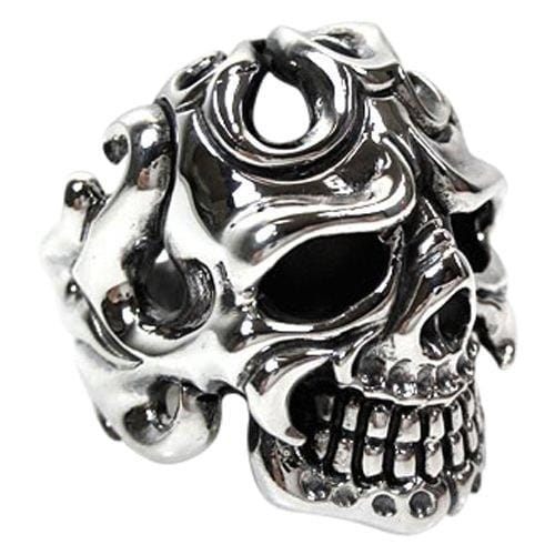 sterling silver tribal tattoo skull ring