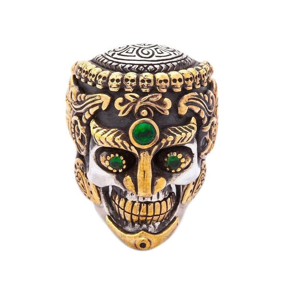 Tibetan skull ring-Bikerringshop