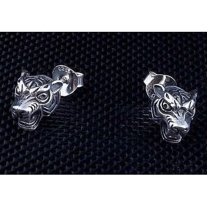 Tiger Head Mens Earrings